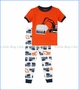 Petit Lem, S/S Construction Trucks PJ Set in Orange