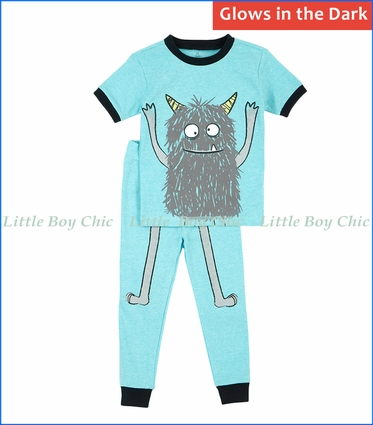 Petit Lem, S/S Glow in the Dark Sleep Monster 2-Pc PJ Set in Turquoise