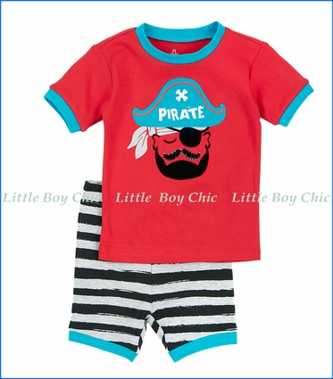 Petit Lem, S/S Sea Friends 2-Pc PJ Short Set in Red