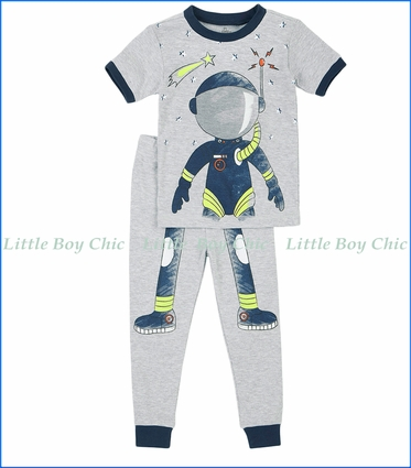 Petit Lem, S/S Space Boy 2-Pc PJ Set in Grey