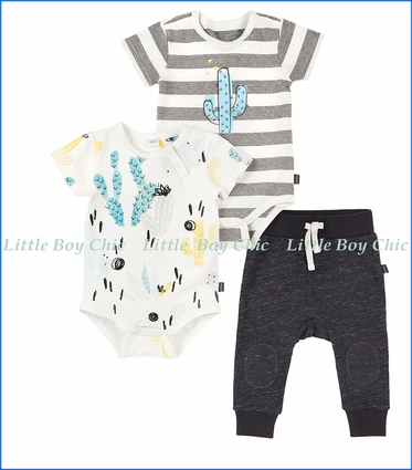 Petit Lem, Set of Two Cactus Print/Striped Onesies & Asphalt Grey Pants