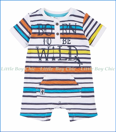 Petit Lem, Stripe Playsuit in Multicoloured