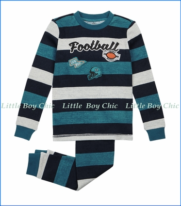 Petit Lem, Striped Football PJ Set in Green