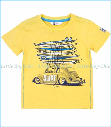 Petit Lem, Surf Car T-Shirt in Yellow
