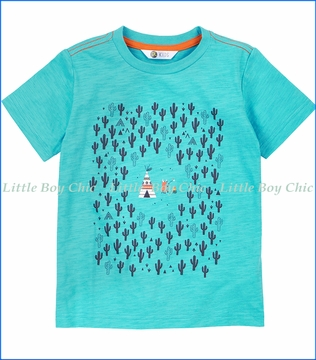 Petit Lem, Wild One Cactus and Teepee Tee in Turquoise
