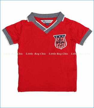PGA TOUR by Fore!!, Johnny Collar Patch Tee in Red (c)