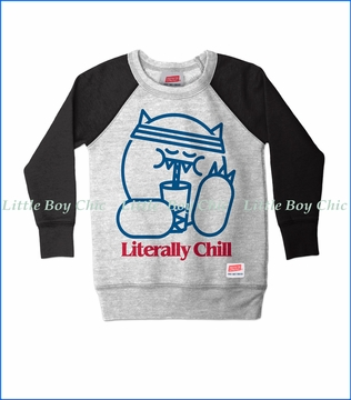 Prefresh, Literally Chill Raglan Fashion Sweatshirt in Heather Grey