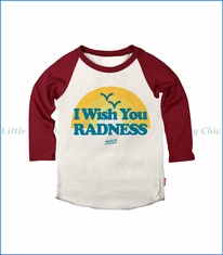 Prefresh, Wish You Radness Raglan T-Shirt in Natural/Cardinal