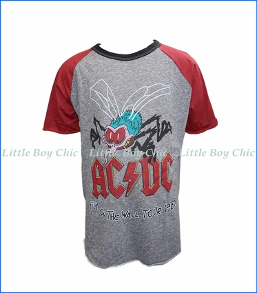 Rowdy Sprout, S/S AC/DC Raglan T-Shirt in Grey