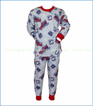 Sara's Prints, Firetruck Loose Fit Pajamas in Grey