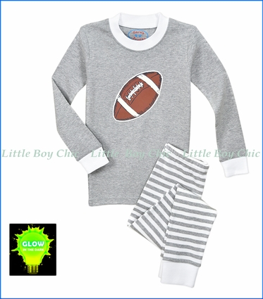 Sara's Prints, Glow in the Dark Football Long John PJ Set in Grey