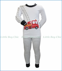 Sara's Prints, Ladder Firetruck Long John PJ Set in Grey