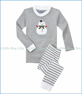 Sara's Prints, Mitten Snowman Appliqué PJ Set in Grey