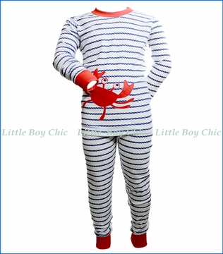 Sara's Prints, Nautical Rope Stripe Crab PJ Set in White
