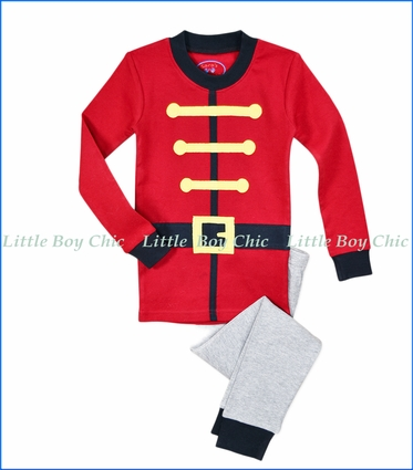 Sara's Prints, Nutcracker Boy Appliqué PJ Set in Red