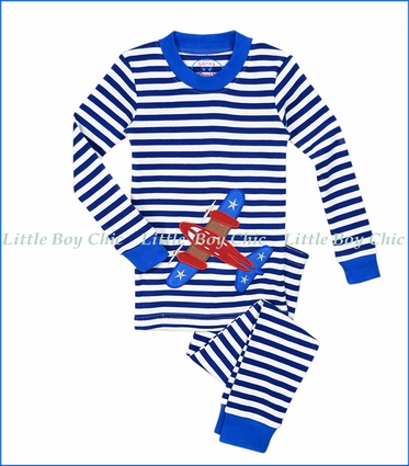 Sara's Prints, Organic Cotton Airplane Appliqué Stripe PJ Set in Blue