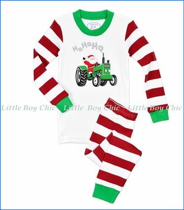 Sara's Prints, Organic Cotton Santa Tractor PJ Set in White