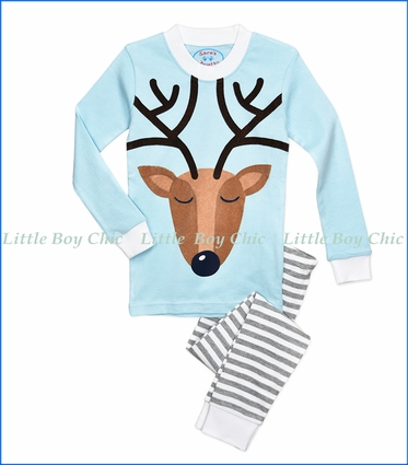 Sara's Prints, Reindeer PJ Set in Blue