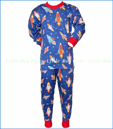 Sara's Prints, Rocket Flight Loose Fit Pajama in Blue
