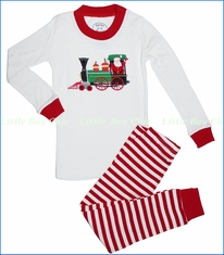 Sara's Prints, Santa Train Applique Pajama