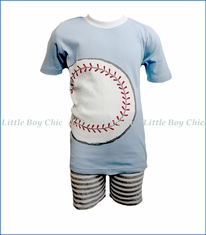 Sara's Prints, Stripe Basebal Short PJ Set in Blue