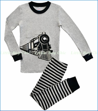 Sara's Prints, Train Applique Pajama in Grey