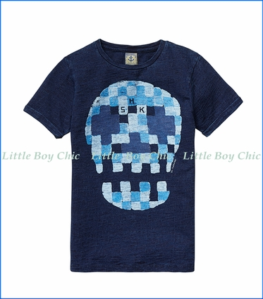 Scotch & Soda, Skull Watercolor Print T-Shirt in Indigo