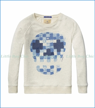 Scotch & Soda, Skull Watercolor Sweatshirt in Ecru