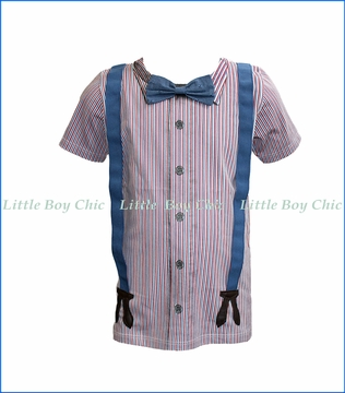 Sierra Julian, S/S Santorini Bow Tie & Suspenders T-Shirt in Blue