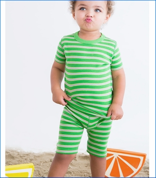 Skylar Luna, Apple/Grass/Gray Stripe Short Pajama Set (c)