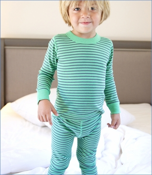 Skylar Luna, Green/Grey Stripe Organic Long Pajama