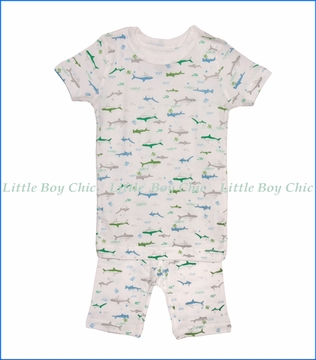 Skylar Luna, S/S Sharks Organic Pajamas in Off-White