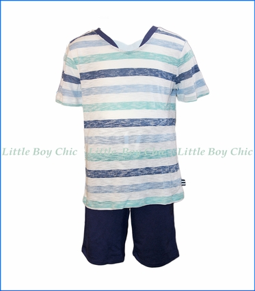 Splendid Littles, 2-Pc V-Neck Tee & Shorts Set in Blue