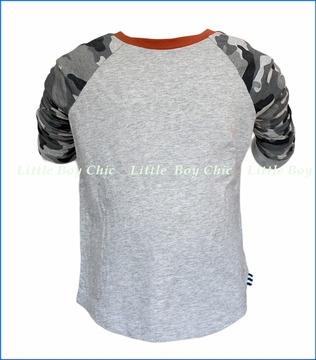 Splendid Littles, LS Camo Raglan T-Shirt in Grey