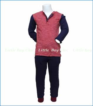 Splendid Littles, LS Slub Henley with Pant Set in Red