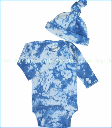 Tiny Bundles, Blue Clouds Tie-Dye Bodysuit and Knotted Cap Set