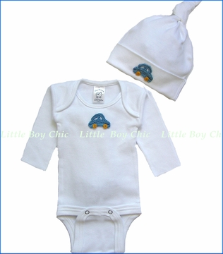 Tiny Bundles, Blue Crochet Car Applique Bodysuit and Knotted Cap Set