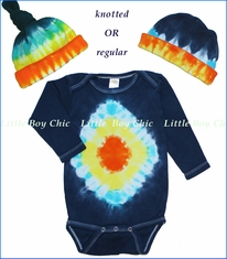 Tiny Bundles, Diamond Tie-Dye Bodysuit and Beanie Set