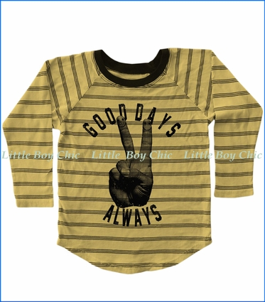 Tiny Whales, Good Days Always Stripe Raglan T-Shirt in Vintage Gold