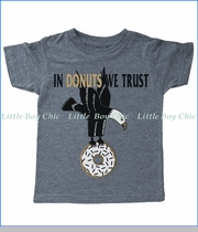 Tiny Whales, In Donuts We Trust T-Shirt in Grey