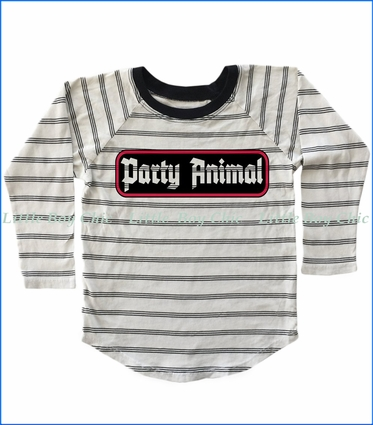 Tiny Whales, Party Animal Raglan T-Shirt in Bone Stripe