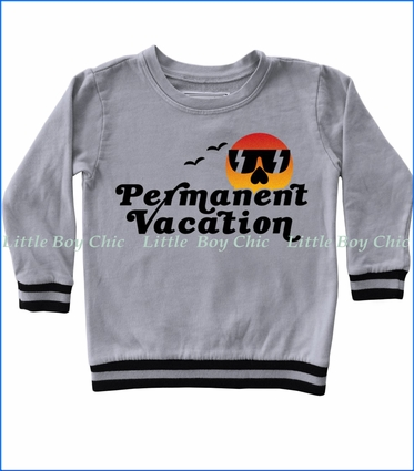Tiny Whales, Permanent Vacation Fleece Sweatshirt in Silver