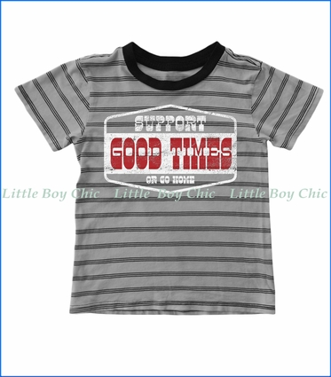 Tiny Whales, Support Good Times Stripe T-Shirt in Silver