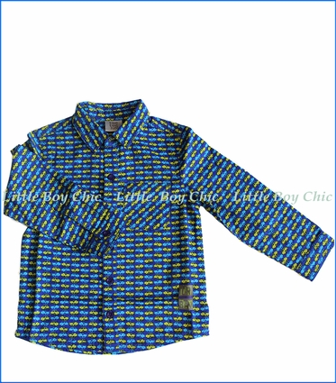 Tuc Tuc, Cars Button-Down Shirt in Blue