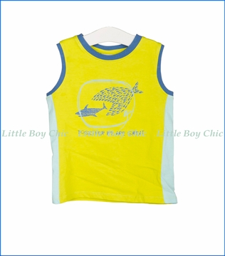 Tuc Tuc, Fish Attack Ringer Tank Top in Pistachio