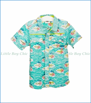 Tuc Tuc, Hawaiian Beachside Shirt in Aqua