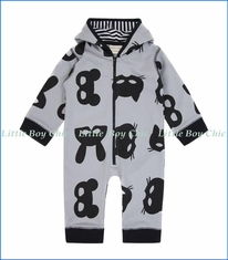 Turtle Dove, Organic Mask Print Outersuit w/ Hood in Grey