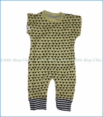 Turtle Dove, Organic S/S Bunting Playsuit in Gold
