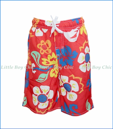 Wes and Willy, Botanic Strech Swim Trunks in Cherry