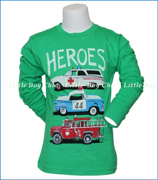 Wes and Willy, L/S Classic Squad Cars T-Shirt in Green